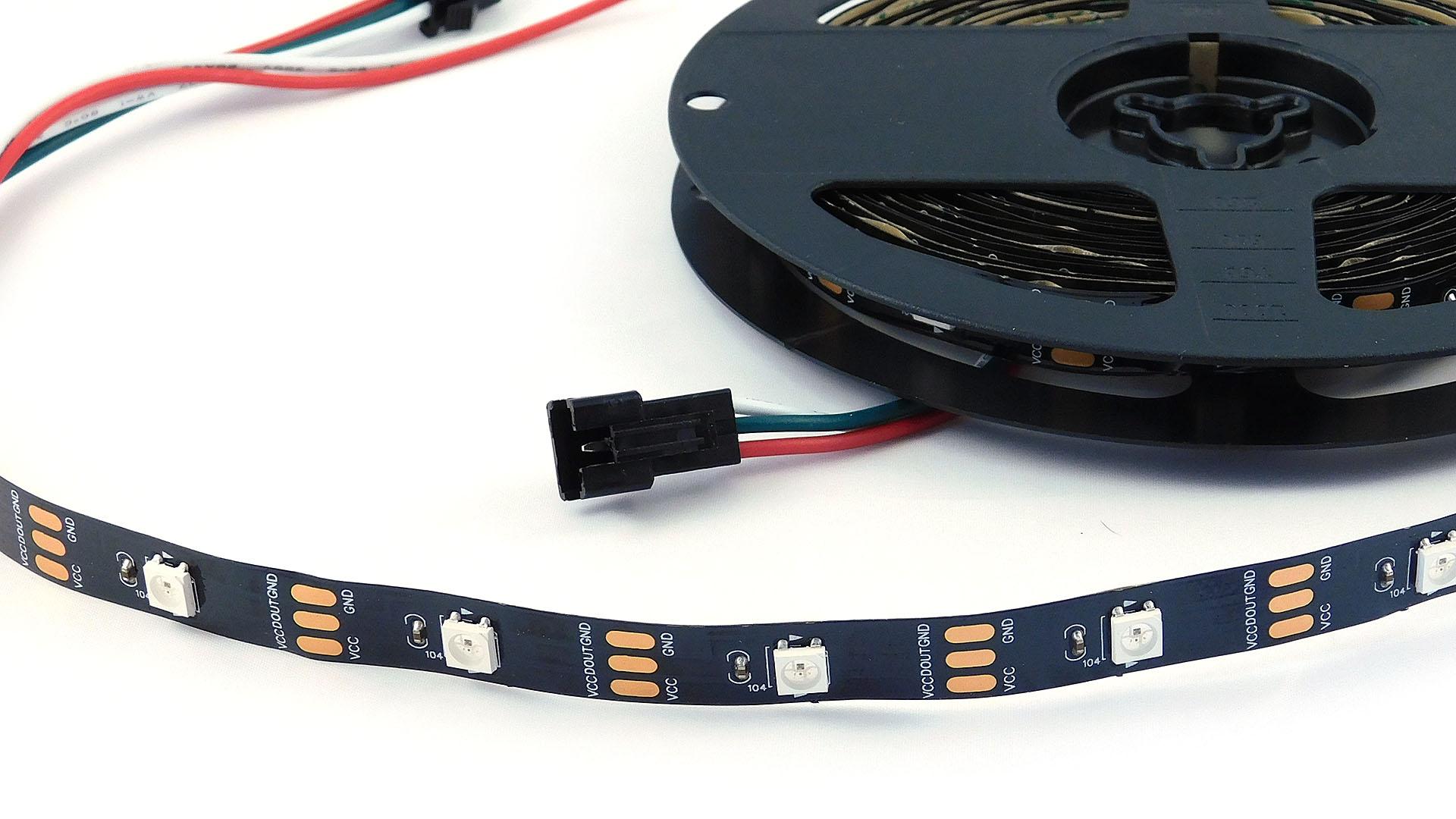 Nettigo Led Strip Rgb Ws2812b 5v Black 30 M Ip30 Flasher
